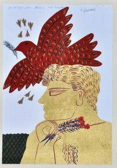 Alecos Fassianos - Imagem para Sonhar Greek Paintings, Contemporary Decorative Art, France Art, Collages, Greek Art, Naive Art, Artist Art, Animal Drawings, Cool Artwork