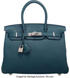 Hermes 30cm Colvert Togo Leather Birkin Bag with PalladiumHardware. T, 2015. Condition: 1