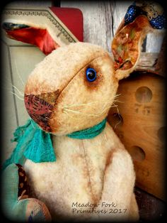 Primitive Folk Art *Buster Rabbit* Valentine's Day, Easter, Spring, Plush Fur, Weighted, Handcrafted, Bunny, Heart, Farmhouse, Faap, Hafair by MeadowForkPrims on Etsy