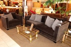 Gray Nailhead Sofa & Chair - Colleen's Classic Consignment, Las Vegas, NV - www.colleenconsign.com