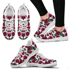 White Roses Women's Sneakers – This is iT Original Custom Converse, Custom Shoes, Athletic Women, Athletic Shoes, Wine Glass Designs, Skull Shoes, High Top Sneakers, Shoes Sneakers, Outdoor Woman