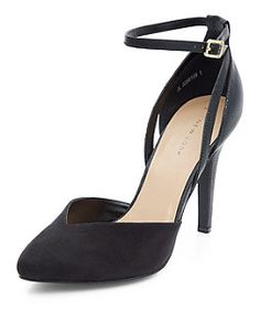 Black Ankle Strap Pointed Heels  | New Look