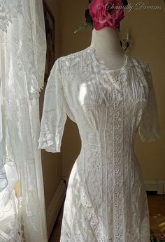 Rare Antique Victorian Lace and Pintucked Wedding Gown  Circa Late 1800s