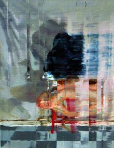 Nu sentado sobre banco vermelho e sombra. Óleo sobre tela. 50cmx 61cm. Taigo Meireles. 2011
