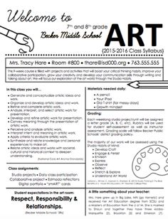 Art Class Syllabus for Students - The Art of Education University Art Syllabus, Class Syllabus, Syllabus Ideas, Syllabus Examples, Middle School Syllabus, Middle School Art Projects, High School Art, Syllabus Template, Classe D'art