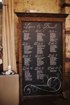 Chalkboard seating chart. Photo by Christine Szczupak