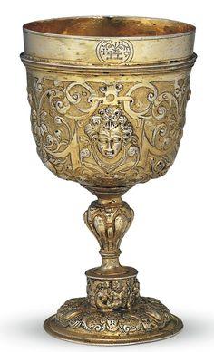 Czech silver-gilt cup ~ Detachable foot ~ Probably Olomouc (Olmütz) ~ 1600