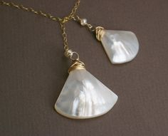 Oceana Gold Lariat Necklace  Mother of Pearl Shell on by trillium, $38.00