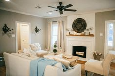 Main living area is Mindful Gray, Nursery is Silver Strand and cabinet color is Alabaster by Sherwin Williams