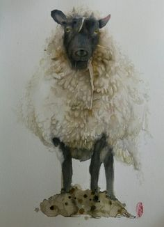 "Marie-helene Stokkink; Painting, ""Sheep"" #art"