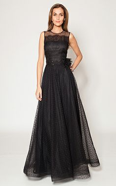 Sleeveless Belted Lace Gown