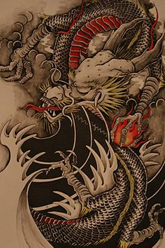 Not so much a fan of this style of finger waves but the simplicity and negative space definitely brings out the complexity of detail in the dragon. The dragon itself is a perfect representation of traditional Japanese IMO. Really dig this over all image Japanese Dragon Tattoos, Japanese Tattoo Art, Japanese Art, Chinese Tattoo Designs, Dragon Tattoo Designs, Art Chinois, Bild Tattoos, Traditional Japanese Tattoos, Asian Tattoos
