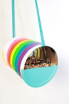 Duct Tape DIY Recycled Can Birdfeeder craft