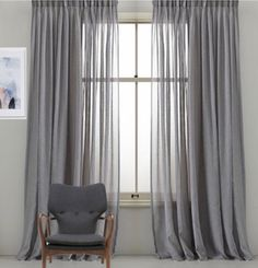Custom Designer Grey Linen Drapery Panels .Pinch Pleat,French Pleat,Inverted Pleat.Grommet Top. Linen Sheer Curtains by HFDraperyStudio on Etsy