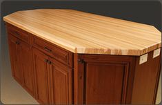 Solid Wood Butcher Block Countertop. Available in custom sizes, shapes, thicknesses and wood species.