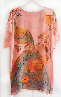 Hand Painted Silk Blouse Coral Tunic Kaftan Caftan Flowers Peacock and Hummingbirds Ready to Ship