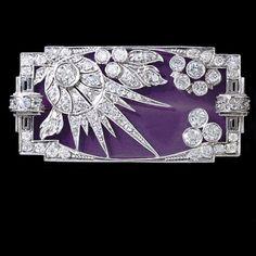 Art Deco enamelled and diamond-set brooch.