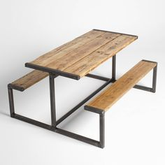 Industrial Style Pub Bench Picnic Table In 2019 Iron Furniture, Steel Furniture, Vintage Furniture, Loft Furniture, Industrial Design Furniture, Industrial Style, Furniture Design, Industrial Bench, Furniture Projects