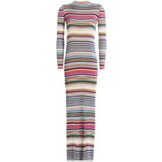 Missoni Striped Knit Dress (47 835 UAH) ❤ liked on Polyvore featuring dresses, multicolored, multi color dress, high neck long sleeve dress, high neck dress, long sleeve knit dress and high neckline dress
