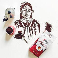 """I took inspiration from a famous and amazing portrait.... which one?  Qualcuno di voi riesce a indovinare il quadro da cui ho tratto ispirazione?  E' esposto a Treviso alla mostra """"Storie dell'Impressionismo"""", prolungata eccezionalmente fino al primo maggio  main sponsor #SegafredoZanetti of course #segafredo4art #storiedellimpressionismo #art #arte #draw #drawing #graphic #design #dessin #graphicdesign #coffeeart #coffeeartist #handmade #vsco #foodart #foodartist #coffeeaddict #love #happ"""