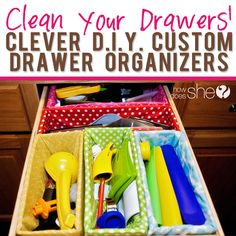 Clean Your Drawers! – a cheap alternative to those pricey store bought organizers #diyprojects #drawerorganizer howdoesshe.com