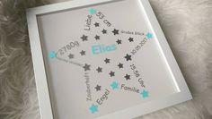 **Mit Liebe zum Detail gestalteter Rahmen mit Geburtsdaten** Sie suchen ein individuelles Geschenk zur Geburt eines neuen Erdenbürgers? Dann ist dieser schöne Rahmen genau das Richtige! Ganz...