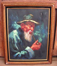 Vintage Oil Painting Fisherman Sea Captain by retrosideshow
