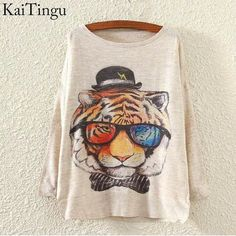 KaiTingu 2015 New Fashion Autumn Winter Women Sweater And Pullover Long Batwing Sleeve Elephant Print O-Neck Jumper Knitwear