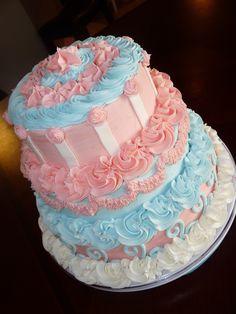 Pink & Blue Neutral Baby Shower Cake — Baby Shower