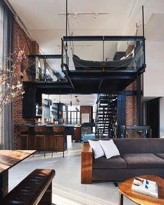 Loft Apartment Decorating, Apartment Design, Apartment Living, Loft Interior, Industrial Interior Design, Moderne Lofts, Loft Design, House Design, Scandinavian Style Home