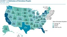 Estimates of Homeless People (Visual of the U.S.) 2014  (Excludes Puerto Rico and U.S. Territories)