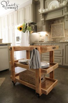LOVE this DIY Rolling Cart Island! - Shanty-2-Chic