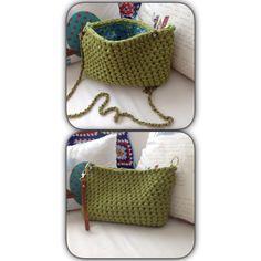 Bolso de crochet bandolera con cadena o clutch