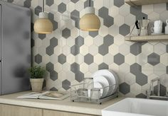 kitchen wall tiles precipitated tiles hanging lamp plant
