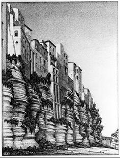 Escher Paintings & Artwork Gallery in Chronological Order Mc Escher, Escher Kunst, Escher Art, Escher Paintings, Gravure Illustration, Illustration Art, Scratchboard, Dutch Artists, Art Database