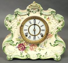 Clock Hourglass Time:  A floral porcelain case eight-day mantel #clock with Ansonia works, marked Dresden Extra, 8-Day, Hour and Half Hour Cathedral Bell Strike, Manufactured Expressly for The American Wringer Co,... No. 920.