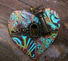 The key to my heart pendant with patina by adrianaallenllc on Etsy, $15.00