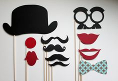 Photo Booth Props - Circus prop set.  Birthdays, Weddings, Parties - Photobooth Props. $29.75, via Etsy.