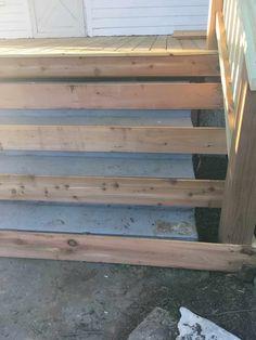 Farmhouse porch steps wood doors 24 Ideas for 2019 Concrete Front Steps, Deck Over Concrete, Cement Steps, Concrete Porch, Wood Steps, Concrete Stairs, Concrete Cover, Wooden Stairs, Repairing Concrete Steps