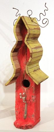 Birdhouse - Yellow & Red with Fork (AD9)