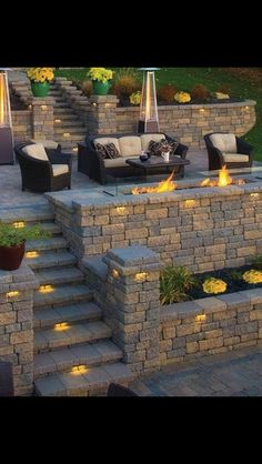 Create a living space with a terrace style yard. Perfect for a yard with a view. (Garden Step Lighting)