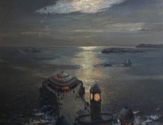 The Athenaeum - Plymouth Sound by Moonlight and Searchlight (Albert Julius Olsson - )