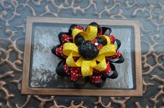 Hairbows-Loopy Flower Hair Bow -Black Red Yelow Hair Bow-Minnie Mouse Hair Bow-Mickey Mouth Hair Bow-Mickey Birthday Party. $5.75, via Etsy.