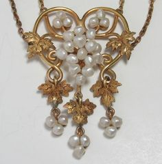 Only 4 days left in our SUMMER SIZZLE SALE to SAVE $400 on this 14k Art Nouveau Baroque Seed Pearl Grape Vine Necklace from divinefind on Ruby Lane