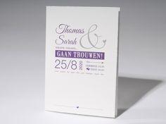 Trouwkaart 'Typografie' artikelnummer 62.1319 prijs vanaf € 1,73 http://trouwkaarten.familycards.nl/kaartdetails/62.1319/