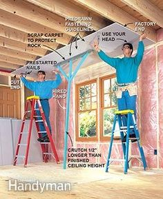 Hang drywall on the ceiling with the aid of a crutch.