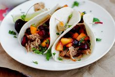 Iowa Girl Eats: Smoky Pulled Pork Tacos with Cherry-Peach Salsa in the Crockpot!  Summer recipe, maybe with some balsamic and rice vinegar instead of Dr. Pepper.