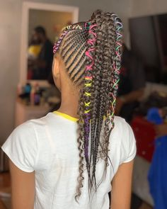 Braided Hairstyles For Black Women, Braids For Black Hair, Pretty Hairstyles, Girl Hairstyles, Natural Hair Care, Natural Hair Styles, Lemonade Braids Hairstyles, Rainbow Braids, Kid Braid Styles
