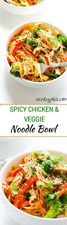 easy asian noodle bowl with spicy chicken and vegetables is a healthy and delicious meal you