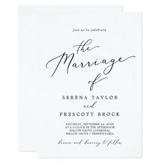 Delicate Black Calligraphy All In One Front and Back Wedding Invite. Click to customize with your personalized details today. Beautiful Wedding Invitations, Wedding Invitation Sets, Custom Invitations, Invitation Design, Invite, Colored Envelopes, White Envelopes, Envelope Liners, Paper Texture